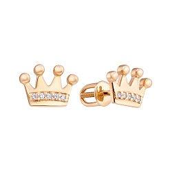 Серьги-пуссеты в виде короны из желтого золота с фианитами 000023960