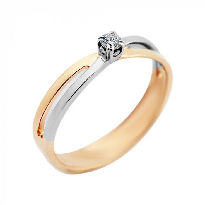 Золотое помолвочное кольцо Ванильное облако в комбинированном цвете с бриллиантом VLA--14970