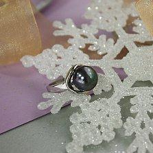Серебряное кольцо Нежность с черной жемчужиной