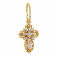 Золотой крестик в желтом цвете с фианитами Душа