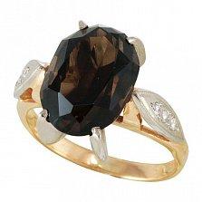 Золотое кольцо Рикарда с раухтопазом и фианитами