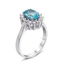 Серебряное кольцо с голубым топазом и фианитами 000132118
