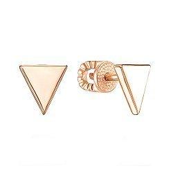 Золотые серьги-пуссеты треугольники в минималистичном стиле 000101588