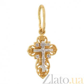 Золотой крестик в желтом цвете с фианитами Душа 7043482ж