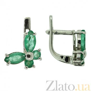 Серебряные серьги с изумрудами Изабелла ZMX--EE-6670-Ag_K