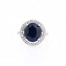 Серебряное кольцо Лавиана с сапфиром и фианитами