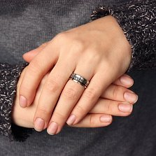 Серебряное кольцо с золотой вставкой Forever love