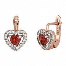 Серебряные сережки с фианитами Cвет любви
