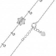 Серебряный браслет Пуговка Звезда с фианитами и шариками-подвесками