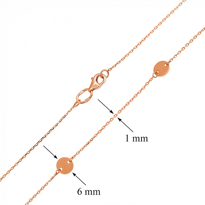 Золотое колье Пуговки в красном цвете якорного плетения 000121664