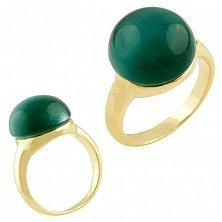Серебряное кольцо Валери с зеленым кошачьим глазом