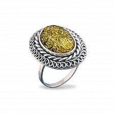 Серебряное кольцо Ингрид с янтарем и чернением
