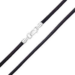 Черный шелковый шнурок с серебряной застежкой Модерн, 3мм 000007687