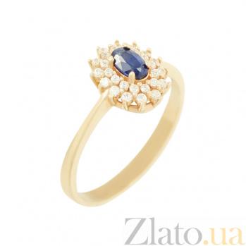 Золотое кольцо с сапфиром и фианитами Корина 2К480-0228