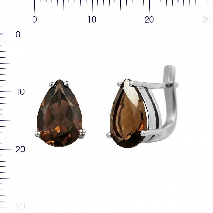 Серебряные серьги Фанни с раухтопазом 000081865