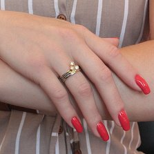 Серебряное кольцо Трио с фианитами, чернением и позолотой
