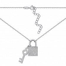 Серебряное колье с подвесками и фианитами в якорном плетении 000131854
