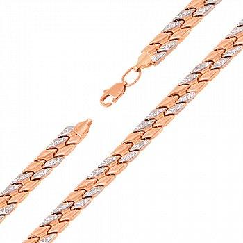 Золотой браслет в комбинированном цвете с алмазной гранью 000137467