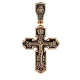 Золотой крест с чернением Покровитель небес
