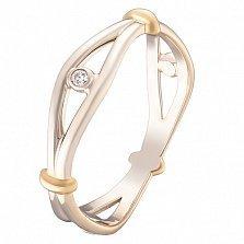 Золотое кольцо Всевидящее око в комбинированном цвете с завальцованными фианитами
