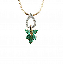 Золотой подвес с изумрудами и бриллиантами Санти