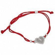 Шелковый браслет Сердце кошки с серебряной вставкой