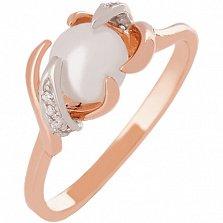 Золотое кольцо с жемчугом и фианитами Ураниа