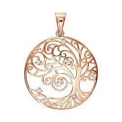 Подвеска из красного золота Древо жизни с фианитами 000138615
