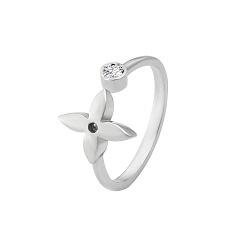 Серебряное разомкнутое фаланговое кольцо Шери с фианитом в стиле Луи Виттон