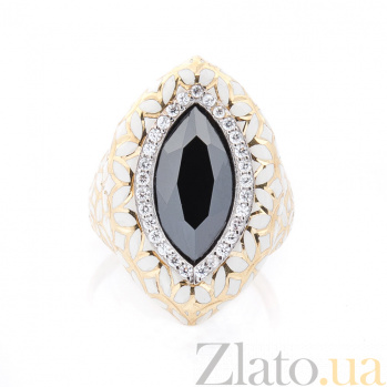 Дизайнерское золотое кольцо Конкордия в желтом цвете с белой эмалью, черным и белыми фианитами 000082310