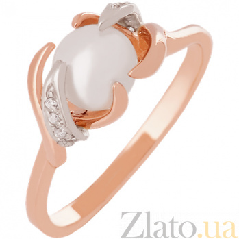 Золотое кольцо с жемчугом и фианитами Ураниа VLN--212-458