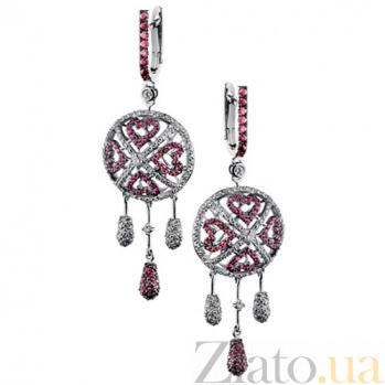 Золотые серьги с рубинами и бриллиантами Шахерезада KBL--С2334/бел/руб
