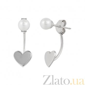 Серебряные серьги с жемчугом Влюбленная в море 000026534