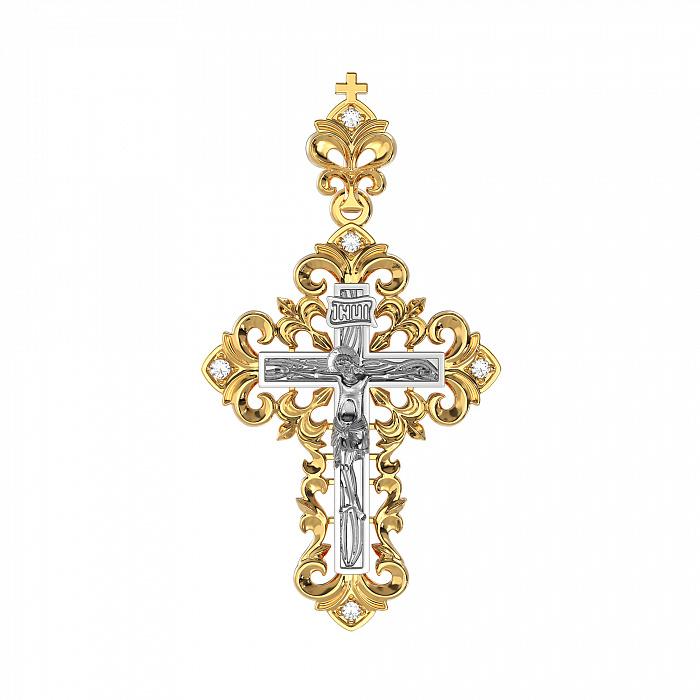 Золотой крестик Узорный в комбинированном цвете с бриллиантами VLA--32280