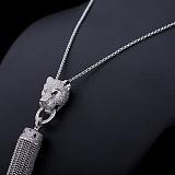 Колье из серебра Роскошная хищница с фианитами и эмалью