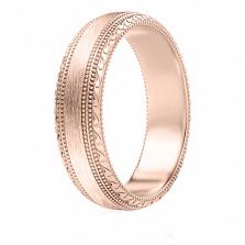 Мужское обручальное кольцо из розового золота Благодарю