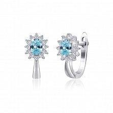 Серебряные сережки с голубыми фианитами Анкария