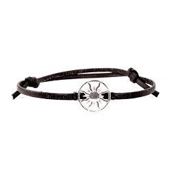 Кожаный браслет с серебром Sun Black с чернением 000091319