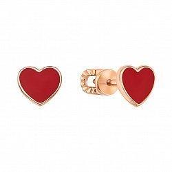 Серьги-пуссеты из красного золота с красной эмалью 000133321