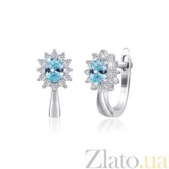 Серебряные сережки с голубыми фианитами Анкария SLX--СК2ФТ/375