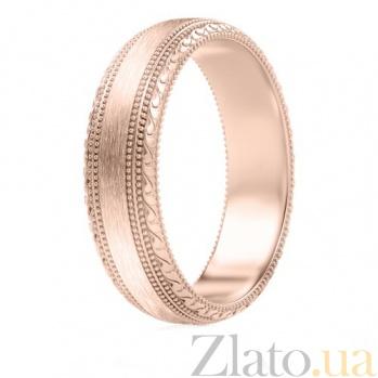 Мужское обручальное кольцо из розового золота Благодарю 757