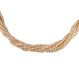 Ожерелье Таура из 5 нитей розового жемчуга с серебряной застежкой