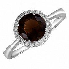 Серебряное кольцо Рашель с фианитом цвета раухтопаза