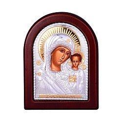 Икона Божия Матерь Казанская с серебрением и позолотой на деревянной основе 000131698
