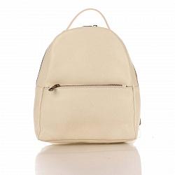 Кожаный рюкзак Genuine Leather 8988 бежевого цвета с карманом на молнии