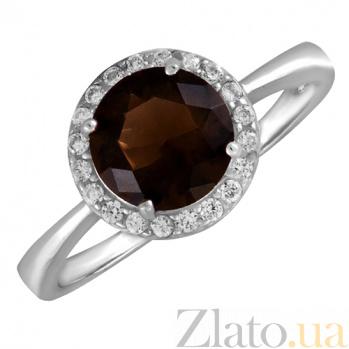 Серебряное кольцо Рашель с фианитом цвета раухтопаза 000028350
