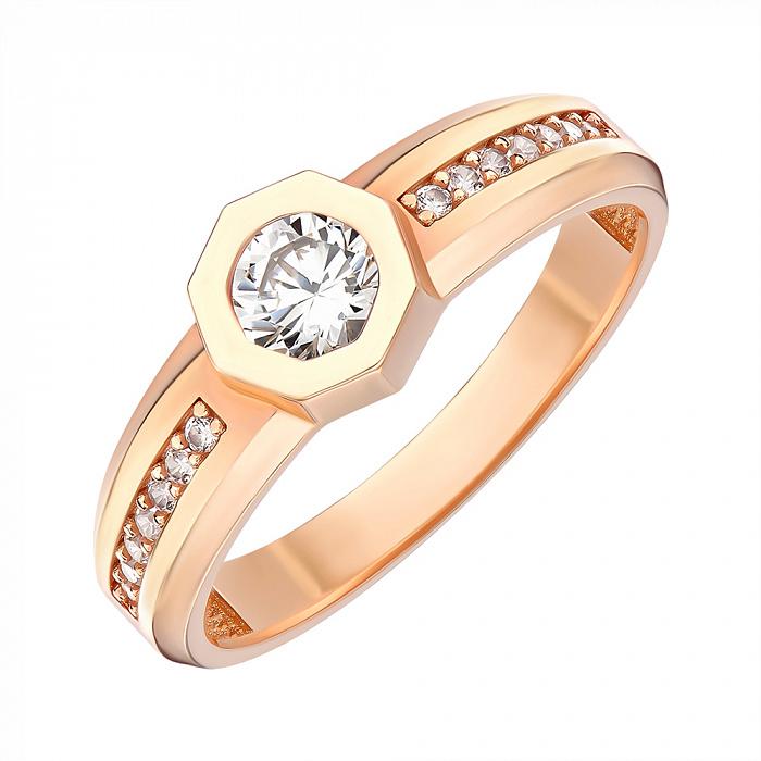 Кольцо из красного золота с фианитами 000146036 000146036