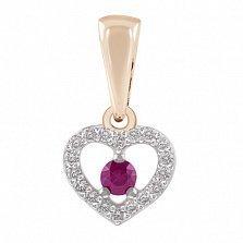 Золотая подвеска Сердце с рубином и бриллиантами