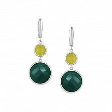 Серебряные серьги-подвески Алиса с зеленым агатом и кварцем