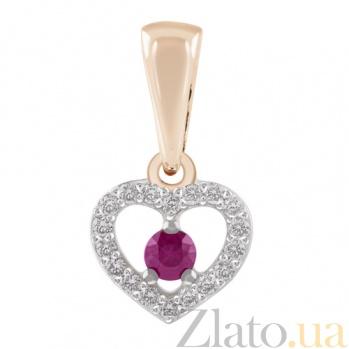 Золотая подвеска с бриллиантами и рубином Сердце KBL--П221/крас/руб